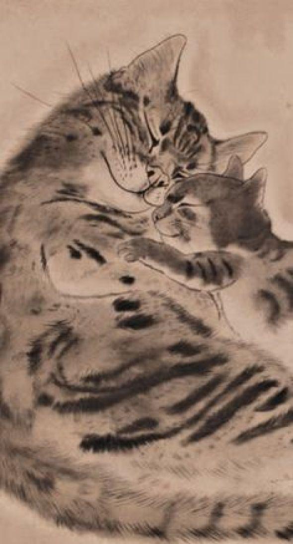 cat with kitten 1929, Foujita