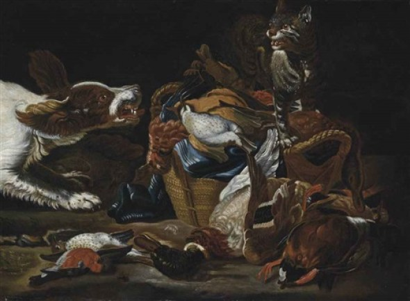 Jan Fyt Mallard, Bullfinch, Partridges and other Birds in a Wicker Basket with Spaniel and Cat