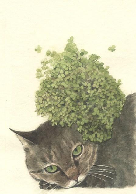 Midori Yamada21-Grey Cat with Green Hat