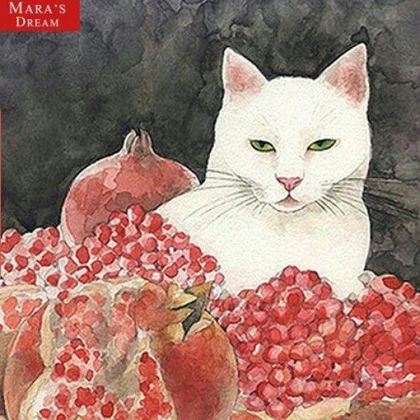Midori Yamada43-Pomegranate and white cat
