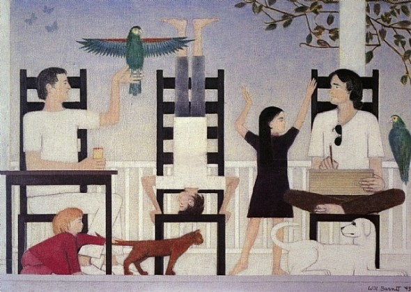 Three Chairs II (family with two birds and a cat) oil painting, 1995 Will Barnet