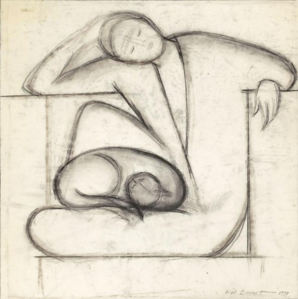 Will Barnet (1911-2012) - Woman and Cat, 1979 - charcoal on vellum
