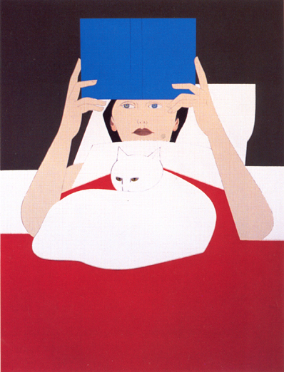 Will Barnet, Woman REading in Bed with Cat, 1970
