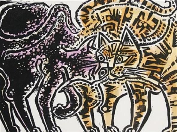 John Craxton, Two Cats