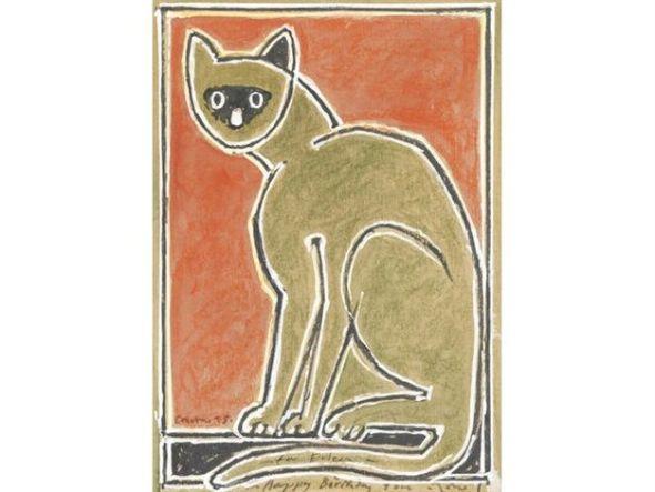 6-Cat on red background, John Craxton