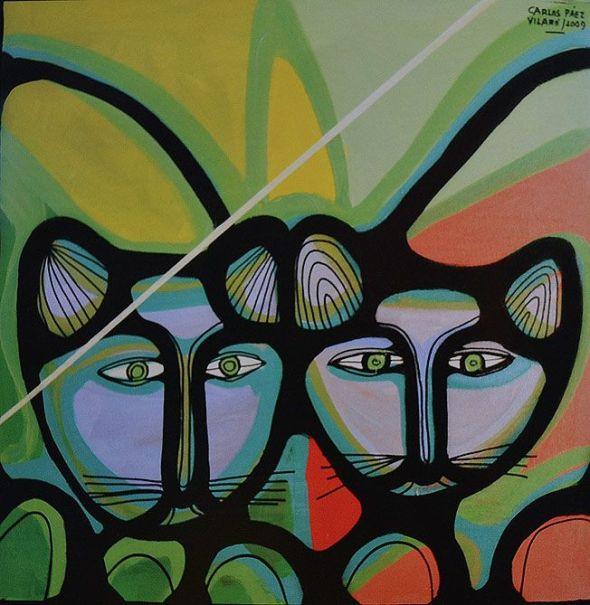 Carlos Páez Vilaró Two Cat Faces
