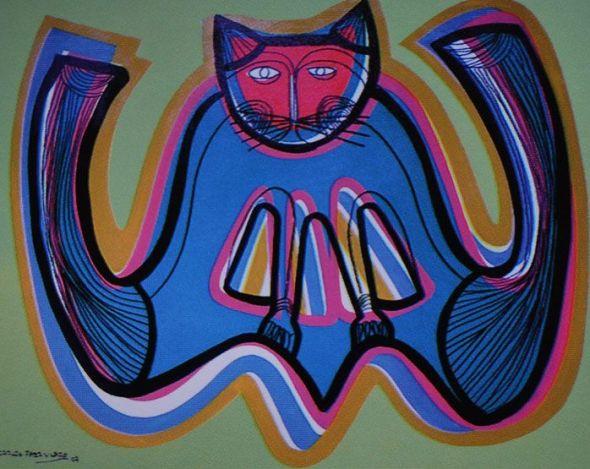 Carlos Paez Vilaro, Blue and Pink Cat