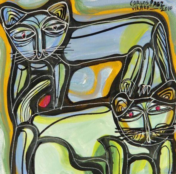 Carlos Paez Vilaro Two Cats