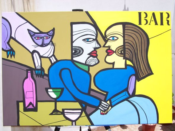 Carlos Paez Vilaro, Woman, Man and Cat in Bar