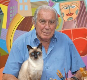 Carlos Paez Vilaro and his Cat
