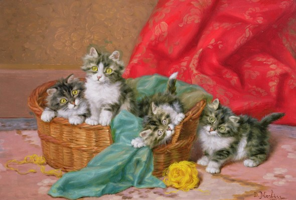 Kittens and a Basket Daniel Merlin private collection