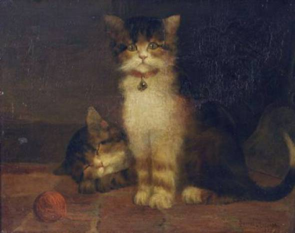 Two Kittens and a Ball of String Daniel Merlin private collectin