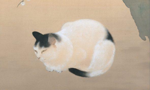 Detail, Cat Under Plum Blossoms, Hishida Shunso