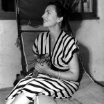 Agnes Moorehead and cat, famous cat lovers