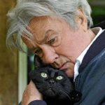 Alain Delon and cat, famous cat lovers