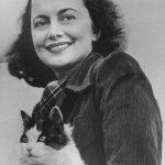 Olivia de Havilland and cat