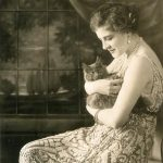 Ganna Walska (Polish opera singer) with a cat, ca. 1921.
