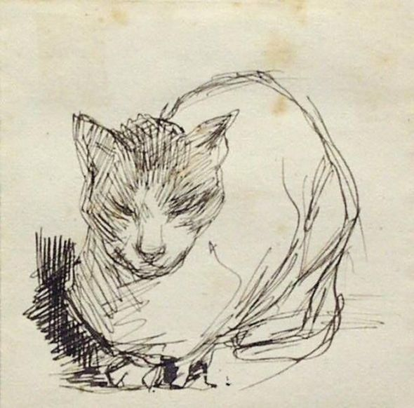 Jacobus van Looy (Dutch, 1855-1930) 1885, Crouching Cat