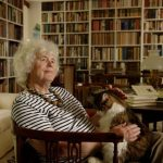 Jan Morris relaxes with her cat Ibsen