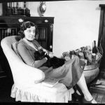 Mrs. Elizabeth M. Dashwood, aka author E.M. Delafield, with her cat at home United Kingdom 1927