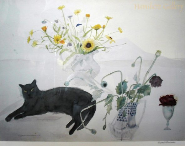 Cat by Vase of Flowers, 1976 Elizabeth Blackadder