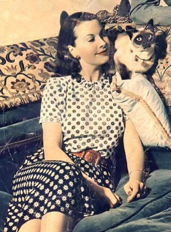 Vivien Leigh and her Siamese New Boy, 1946