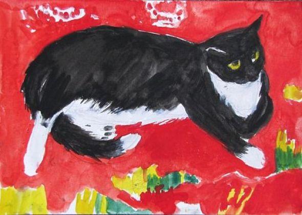 Louis the Cat on a Rug, 1969, Elizabeth Blackadder