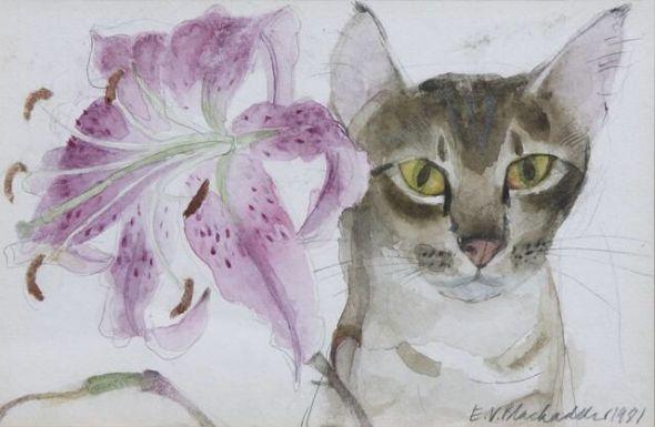 Dame Elizabeth Blackadder (British, b. 1931) - Lily and Cat, 1981