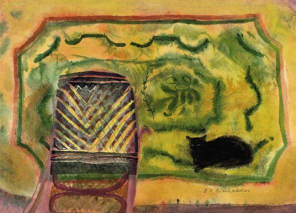 Cat on a Yellow Carpet, Elizabeth Blackadder