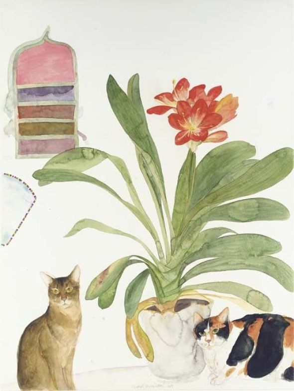 Elizabeth Violet Blackadder - Two Cats with Clivia