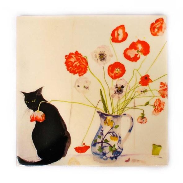 Poppies and Black Cat, Elizabeth Blackadder