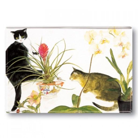 Two Cats and Flowers, Elizabeth Blackadder