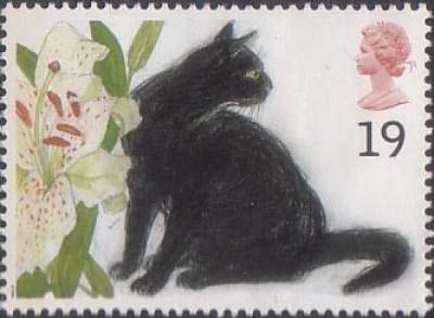 Stamp 3 Sophie (black cat) British postage stamp 1995, Elizabeth Blackadder