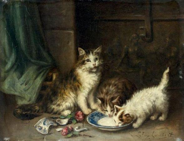 Chatte et ses Chatons, Louis Eugène Lambert, cats in art