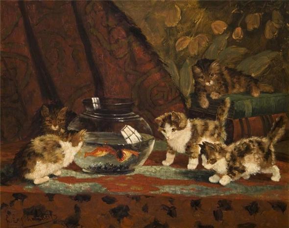 Kittens and Goldfish, Louis Eugene Lambert