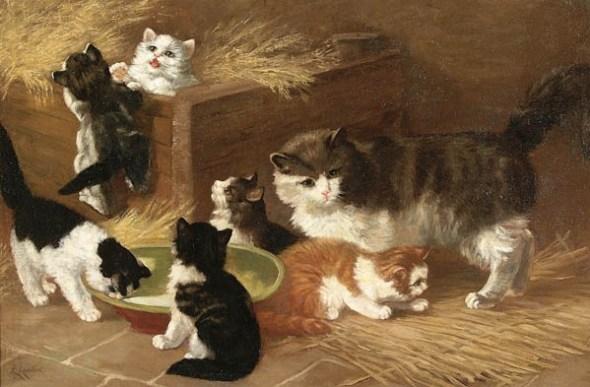LOUIS LAMBERT (French 1825-1900) Playful Kittens