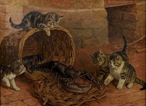 A Surprise, Louis Eugene Lambert, cats in art
