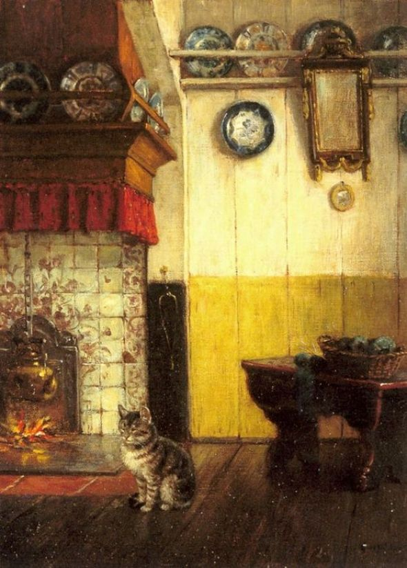 Carl Emil Mücke (German, 1847-1923). Cat Watching the Pot