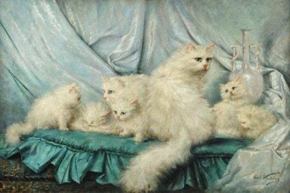 Carl Kahler (1855-1906) Family Portrait, cats in art