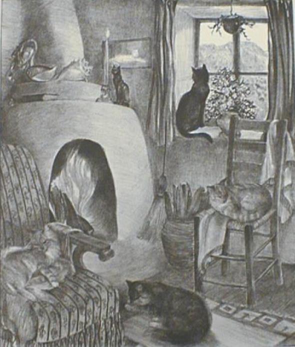 Cats' Corner, 1940, Agnes Tait