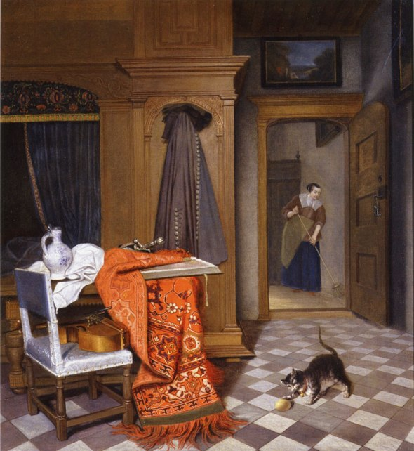 Cornelis de Man Woman Sweeping, cats in art