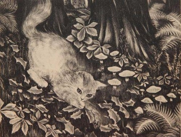 Kitten and Falling Leaves, Agnes Tait