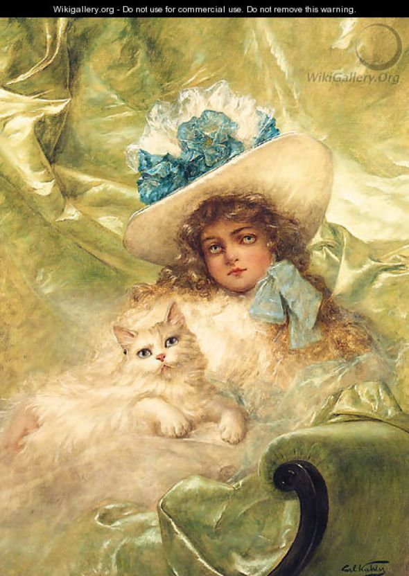 Portrait of a Young Girl with cat, Carl Kahler