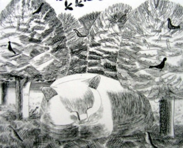 La Reverie, etching, Edward Bawden, cats in art