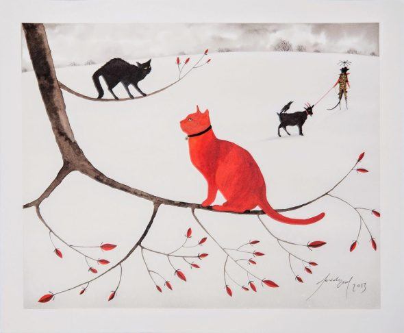 Feridun Oral, Red and Black Cats on Snow