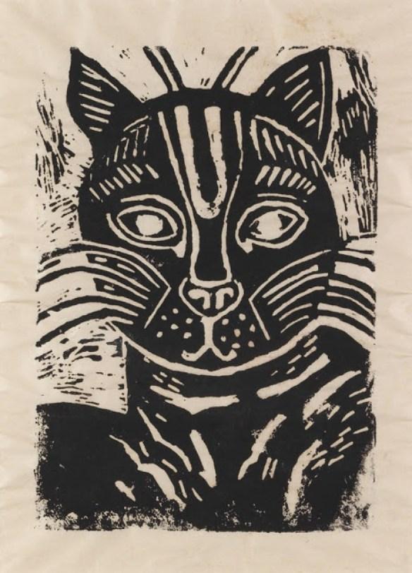 Edward Bawden (1903 – 1989) cat linocut