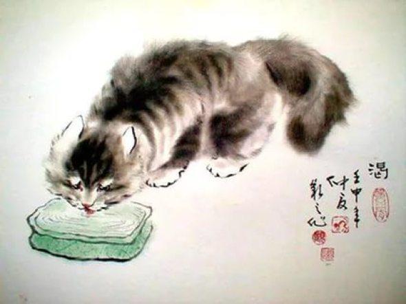 Gu Yingzhi, Cat Drinking, Chinese cats