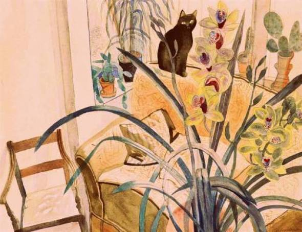 Edward Bawden Cat and an Orchid, 1987