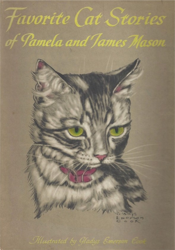 The dust jacket cover for Favorite Cat Stories of Pamela and James Mason, which was published in 1956