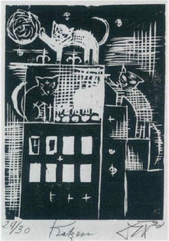 Cats - Otto Dix - 1920, Woodcut.